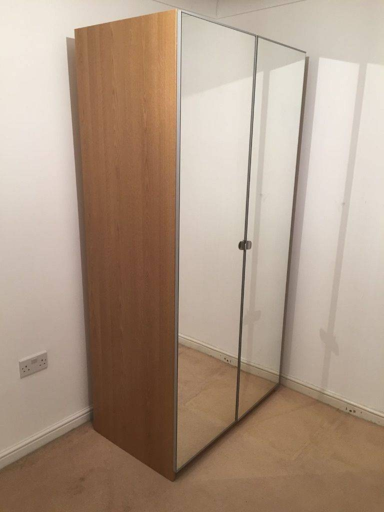 Ikea Pax Oak Wardrobe With Mirrored Doors | In Gateshead, Tyne And in Oak Mirrored Wardrobes (Image 4 of 15)