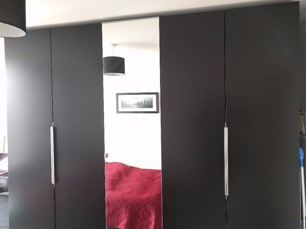Ikea Pax Wardrobe - Black - Mirror - 3 Wardrobes - 5 Doors - Total for 5 Door Mirrored Wardrobes (Image 10 of 15)