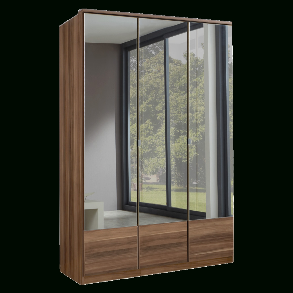 Imago Walnut 3 Door Mirrored Wardrobe | Sabba Furniture with regard to 3 Doors Wardrobes With Mirror (Image 9 of 15)