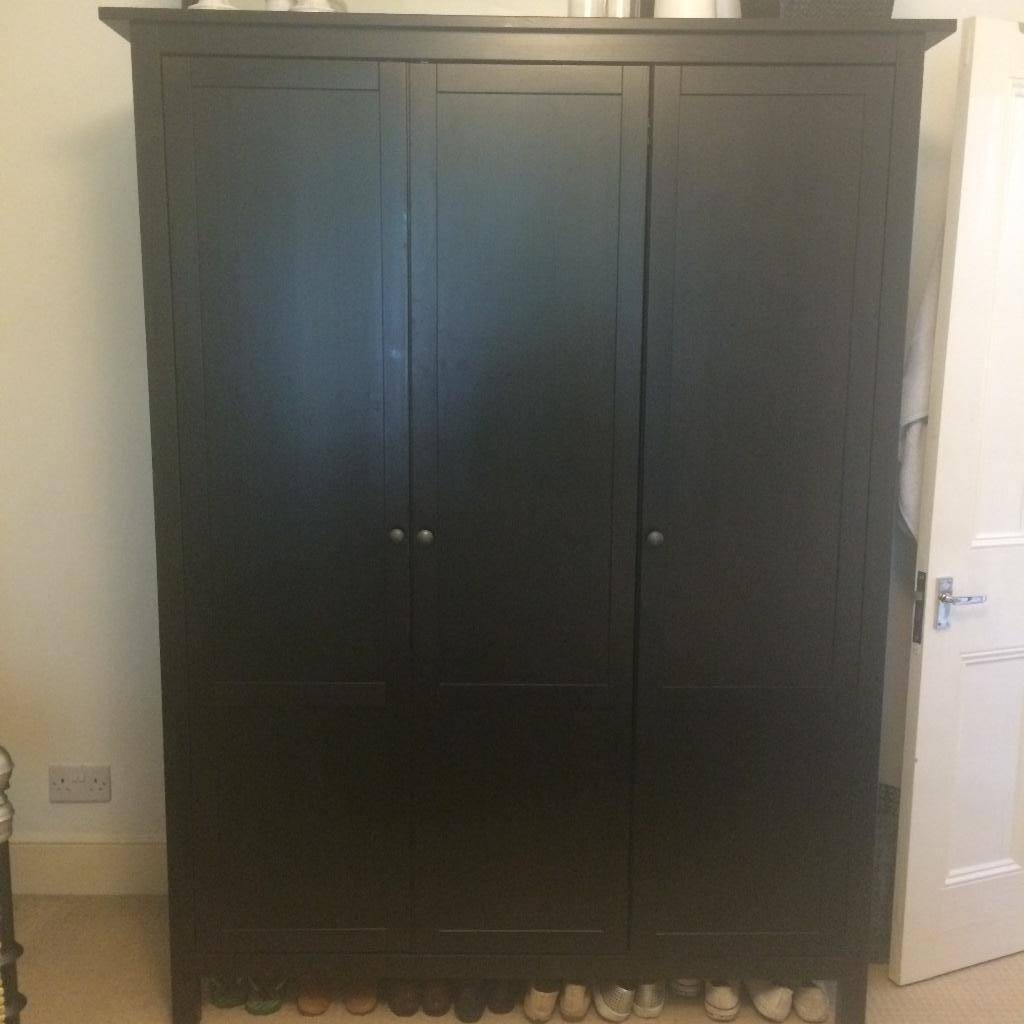 Immaculate Ikea Hemnes 3-Door Wardrobe Black/brown | In Finsbury pertaining to 3 Door Black Wardrobes (Image 9 of 15)