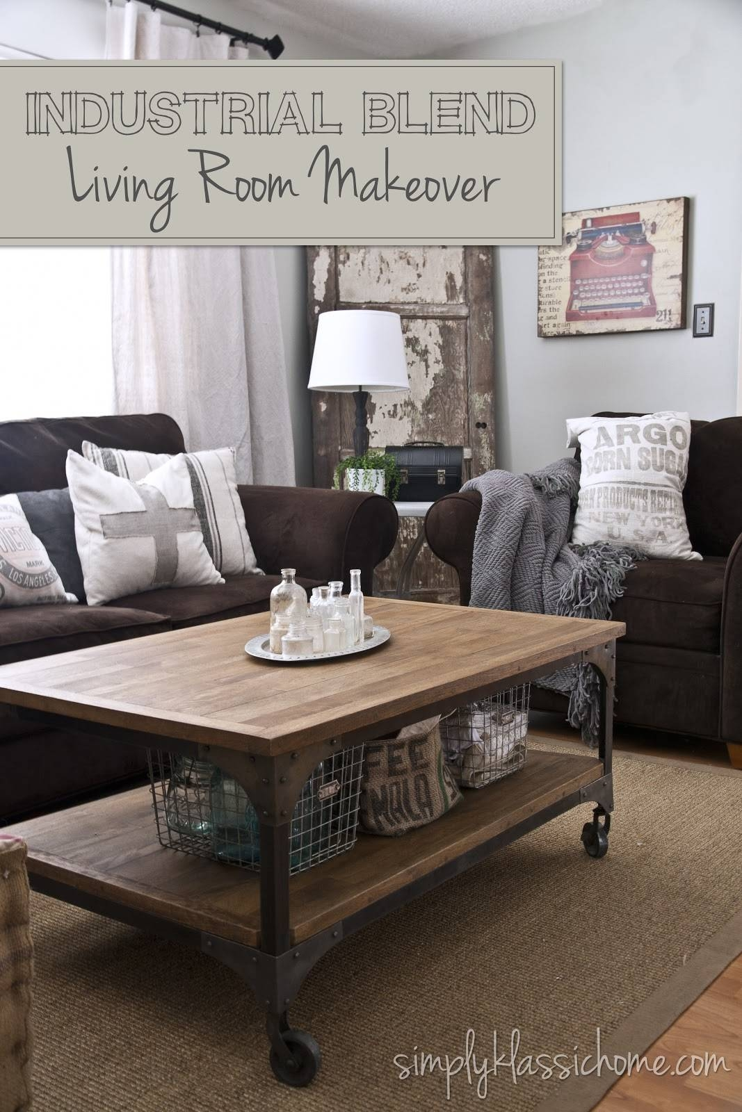 Industrial Blend Living Room Makeover Reveal - Yellow Bliss Road for Aiden Coffee Tables (Image 20 of 30)