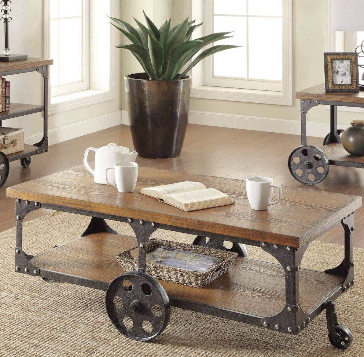 Industrial Coffee Table Utility Cart Storage Console Rustic Wood inside Matching Tv Unit And Coffee Tables (Image 15 of 30)