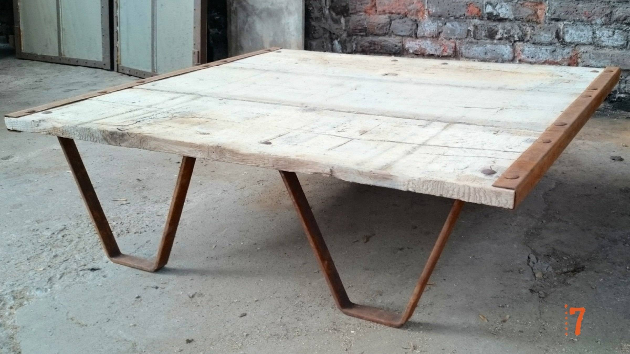Industrial Furniture – Solid Wood Garden Coffee Table | Barak'7 With Regard To Wooden Garden Coffee Tables (Image 15 of 30)