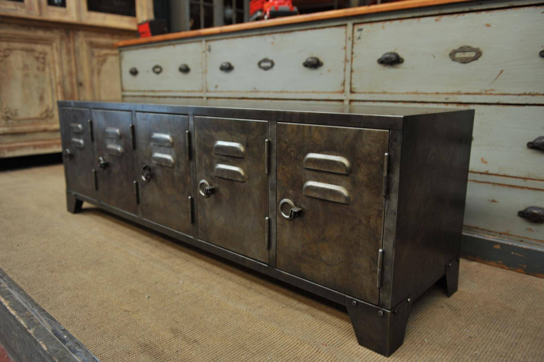 Industrial Metal Sideboard, 1950S For Sale At Pamono in Metal Sideboard Furniture (Image 19 of 30)