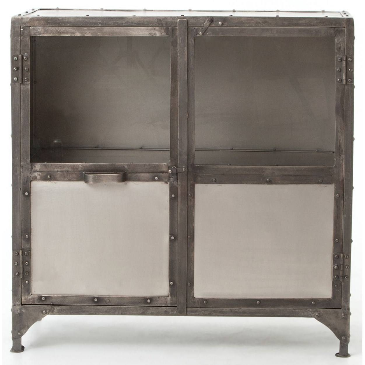 Industrial Metal Sideboard With Glass Doorsfour Hands | Wolf regarding Metal Sideboard Furniture (Image 17 of 30)