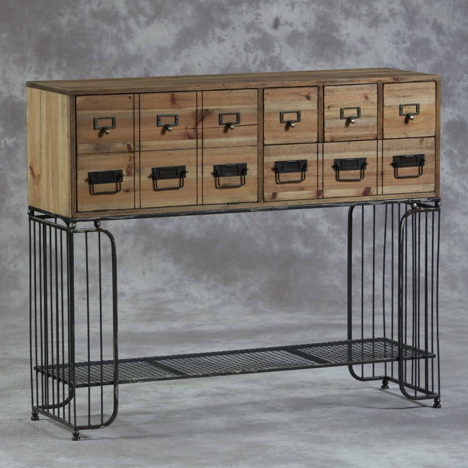 Industrial Multi Drawer Wood And Metal Sideboard Cabinet With Cupboard with Multi Drawer Sideboards (Image 15 of 30)