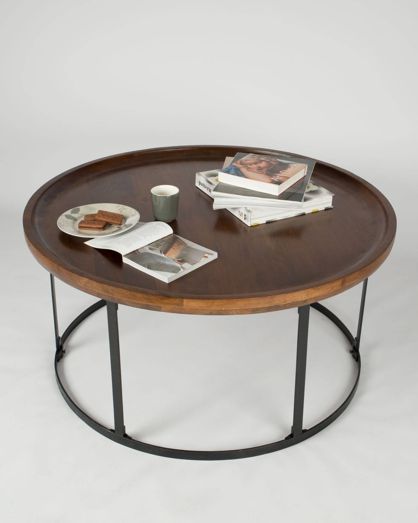 Industrial Round Coffee Table With Dark Wood Top And Steel Frame for Dark Mango Coffee Tables (Image 16 of 30)