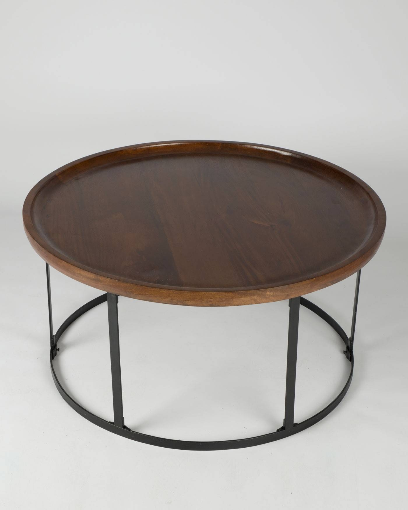 Industrial Round Coffee Table With Dark Wood Top And Steel Frame in Dark Mango Coffee Tables (Image 17 of 30)