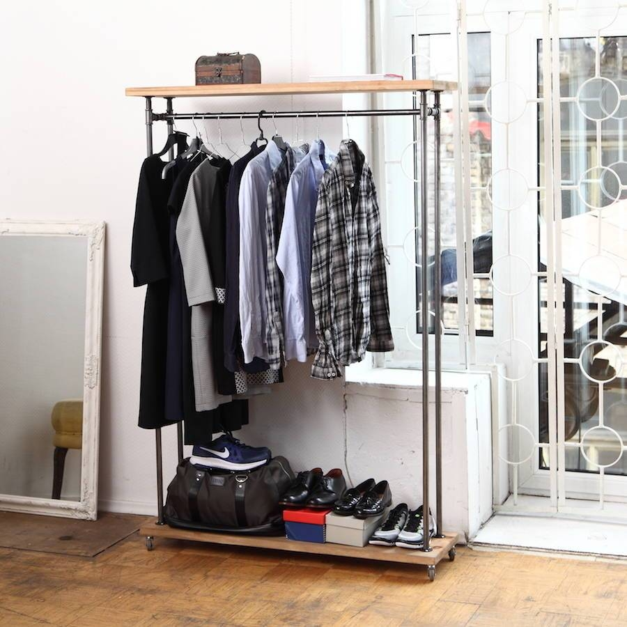 Industrial Style Clothes Railcosywood | Notonthehighstreet regarding Industrial Style Wardrobes (Image 6 of 15)