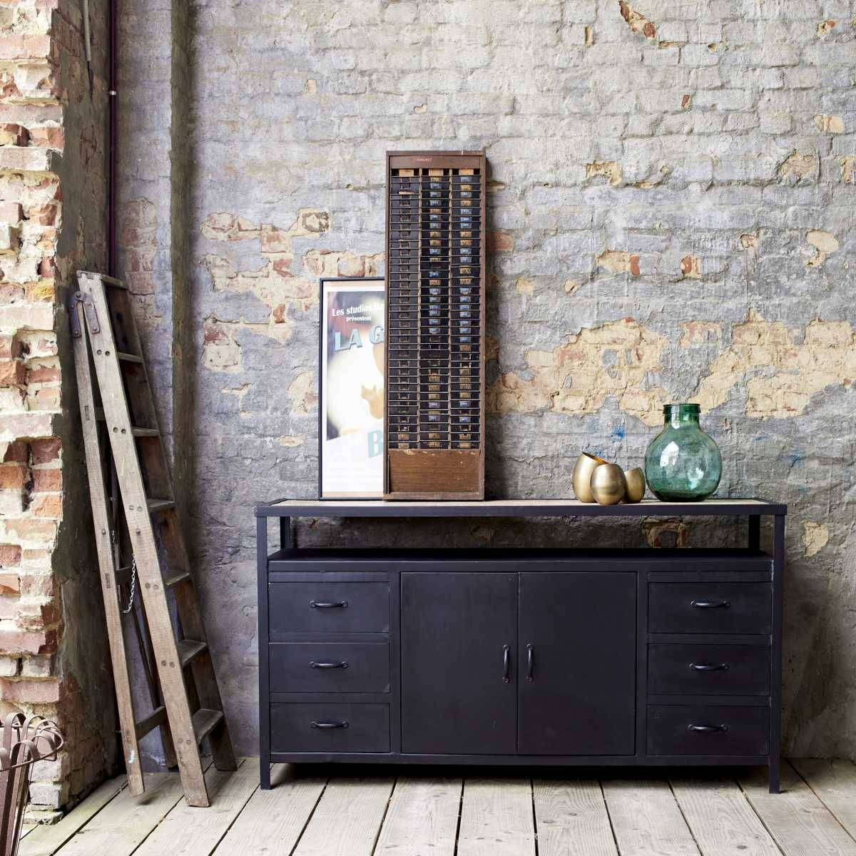 Industrial Style Metal Sideboards And Metallic Sideboards - Tikamoon throughout Metal Sideboards (Image 17 of 30)
