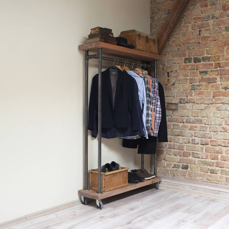 Industrial Style Reclaimed Wood Clothes Railcosywood in Industrial Style Wardrobes (Image 7 of 15)