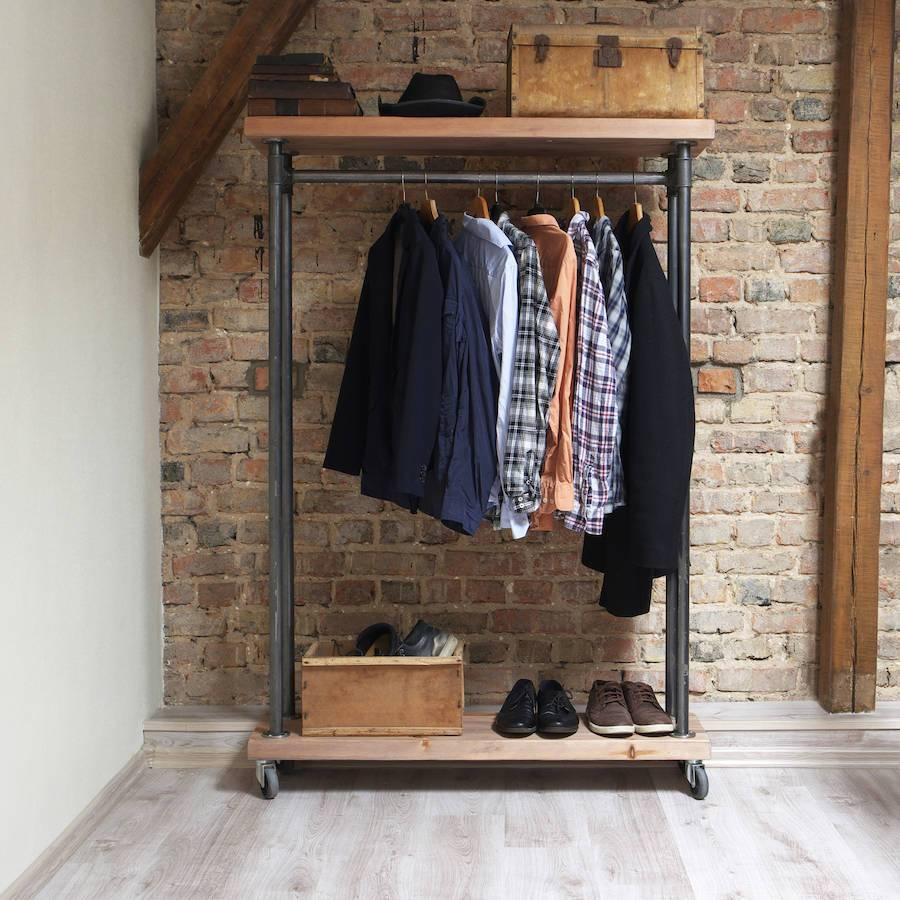 Industrial Style Reclaimed Wood Clothes Railcosywood regarding Industrial Style Wardrobes (Image 8 of 15)