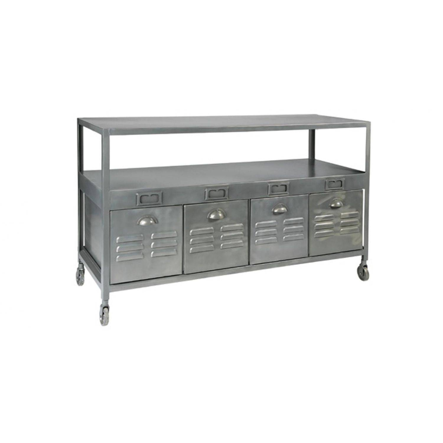 Industrial Style Sideboard Table / Brushed Metal / Rectangular pertaining to Metal Sideboard Furniture (Image 21 of 30)
