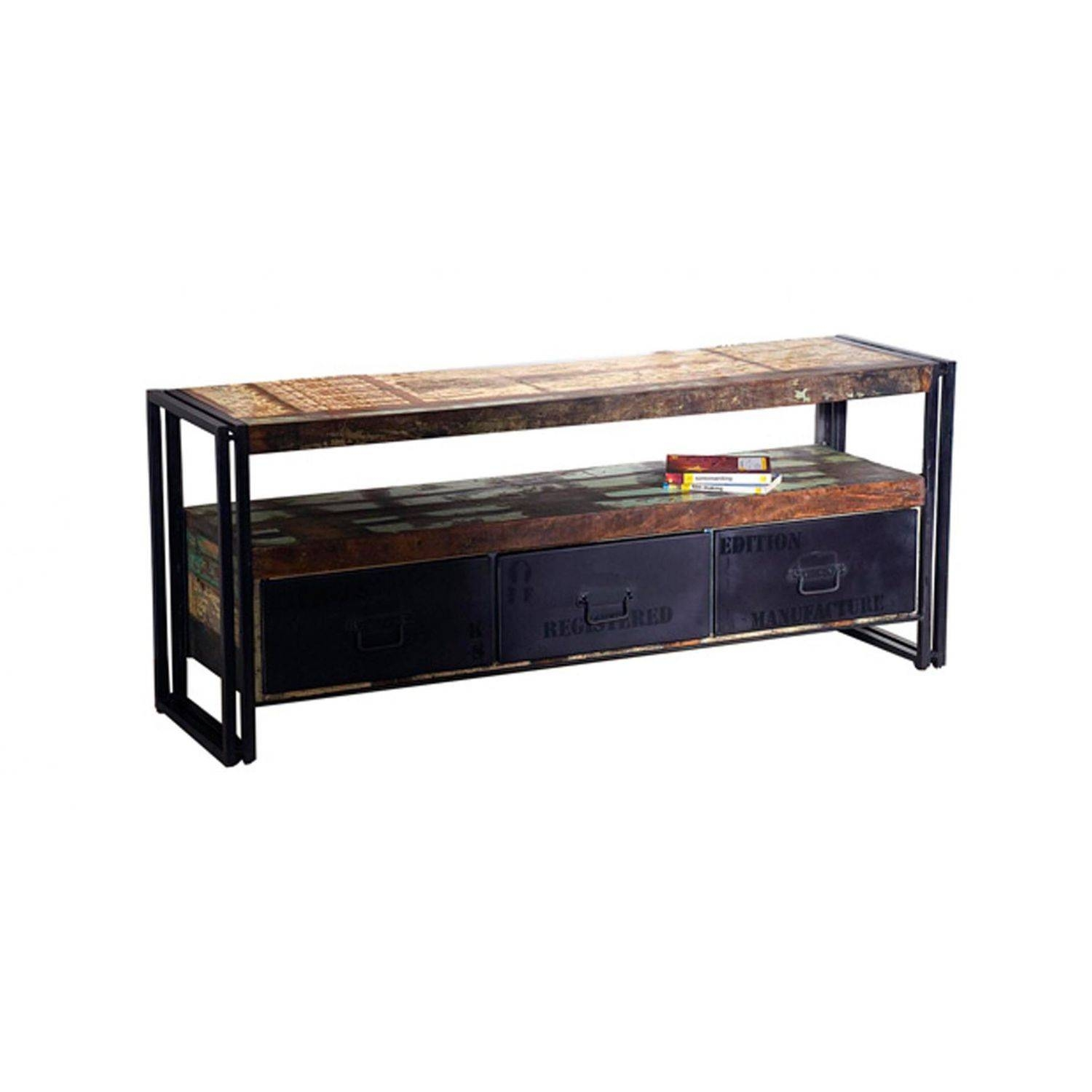 Industrial Style Sideboard Table / Wooden / Metal / Rectangular inside Metal Sideboard Furniture (Image 23 of 30)