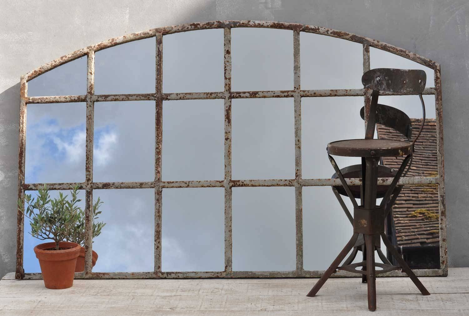 Industrial Warehouse Large Cast Iron Arched Window Mirror with Arched Window Mirrors (Image 16 of 25)