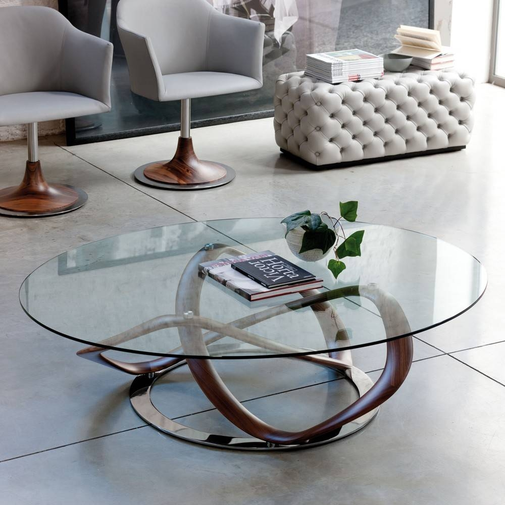 Infinity Glass Top Oval Coffee Table With Stainless Steel Frame In with Oval White Coffee Tables (Image 20 of 30)