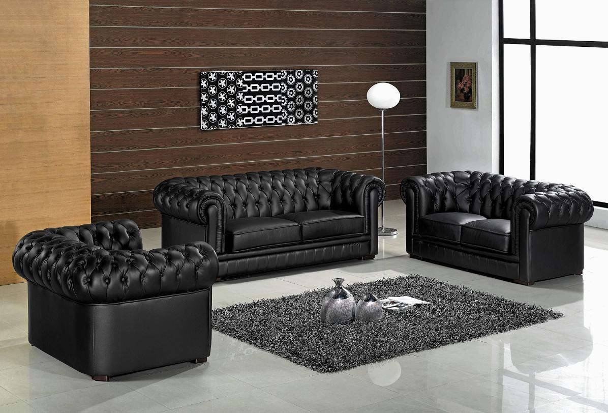 Inspirational Modern Black Leather Sofa 96 Contemporary Sofa with regard to Contemporary Black Leather Sofas (Image 13 of 30)