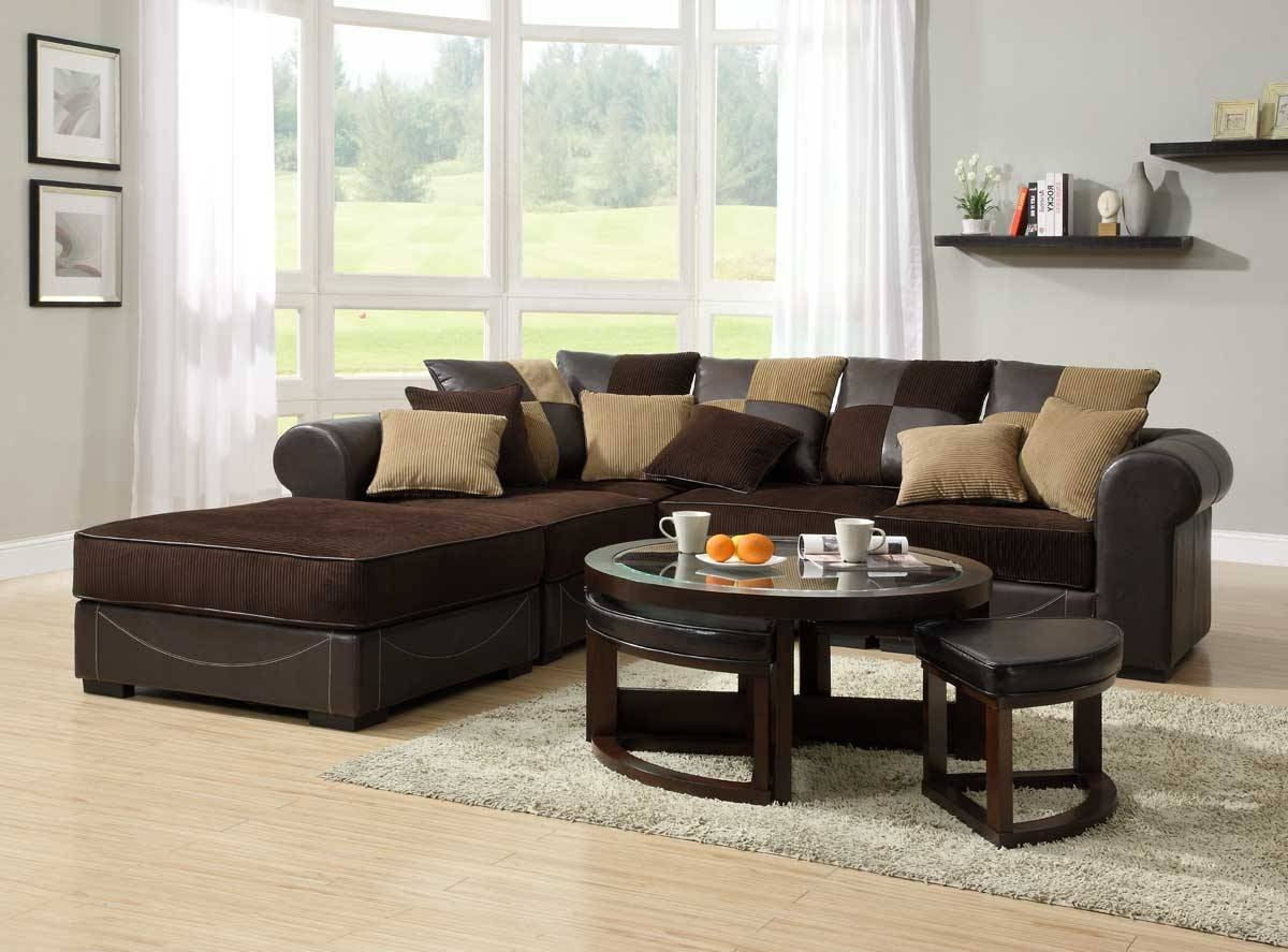 Inspirations Chocolate Brown Sectional Sofa With Faux Leather Base with Chocolate Brown Sectional Sofa (Image 22 of 30)