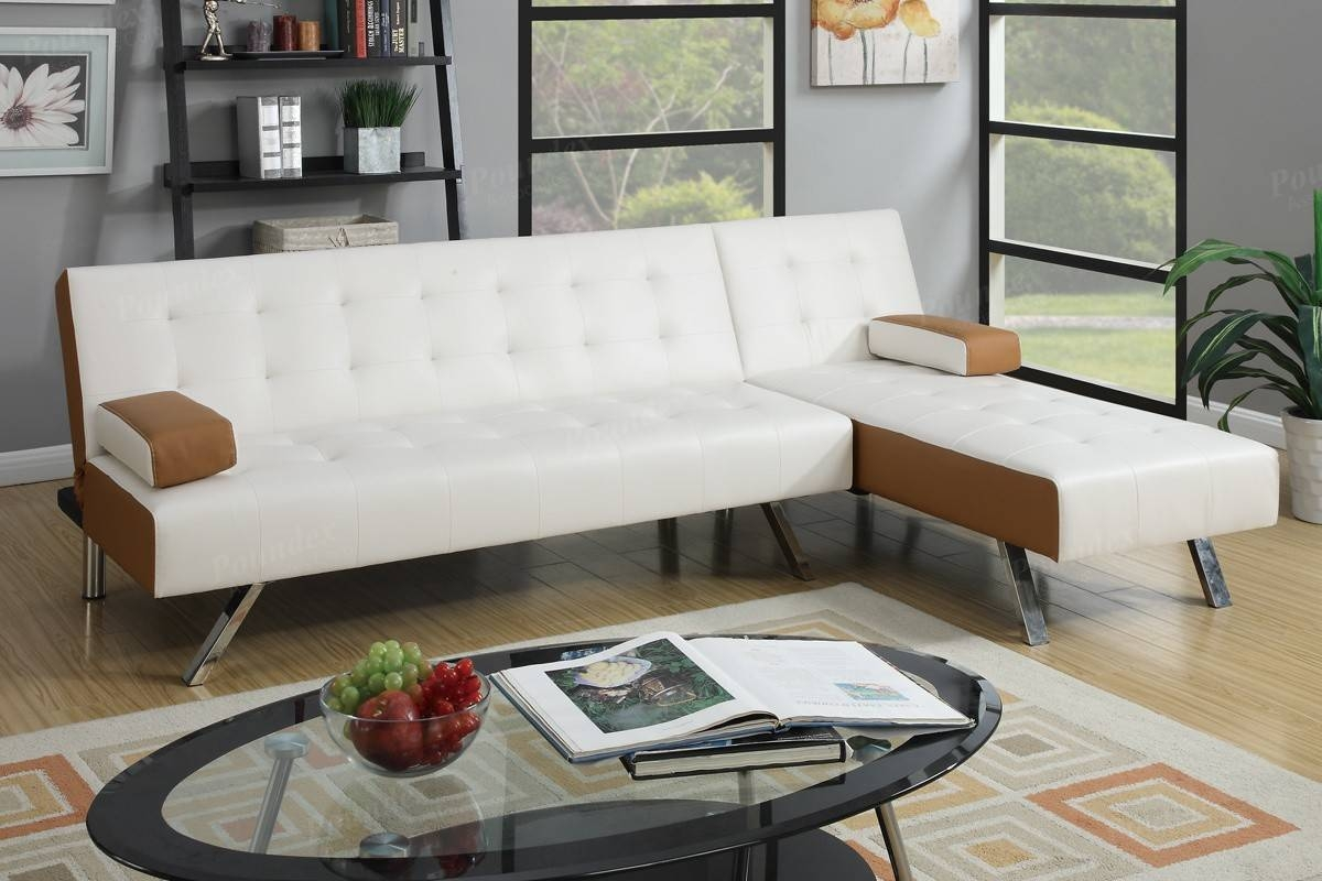 Interesting L Shaped White Leather Sectional Sofa Bed Chrome Base in Oval Sofas (Image 14 of 30)