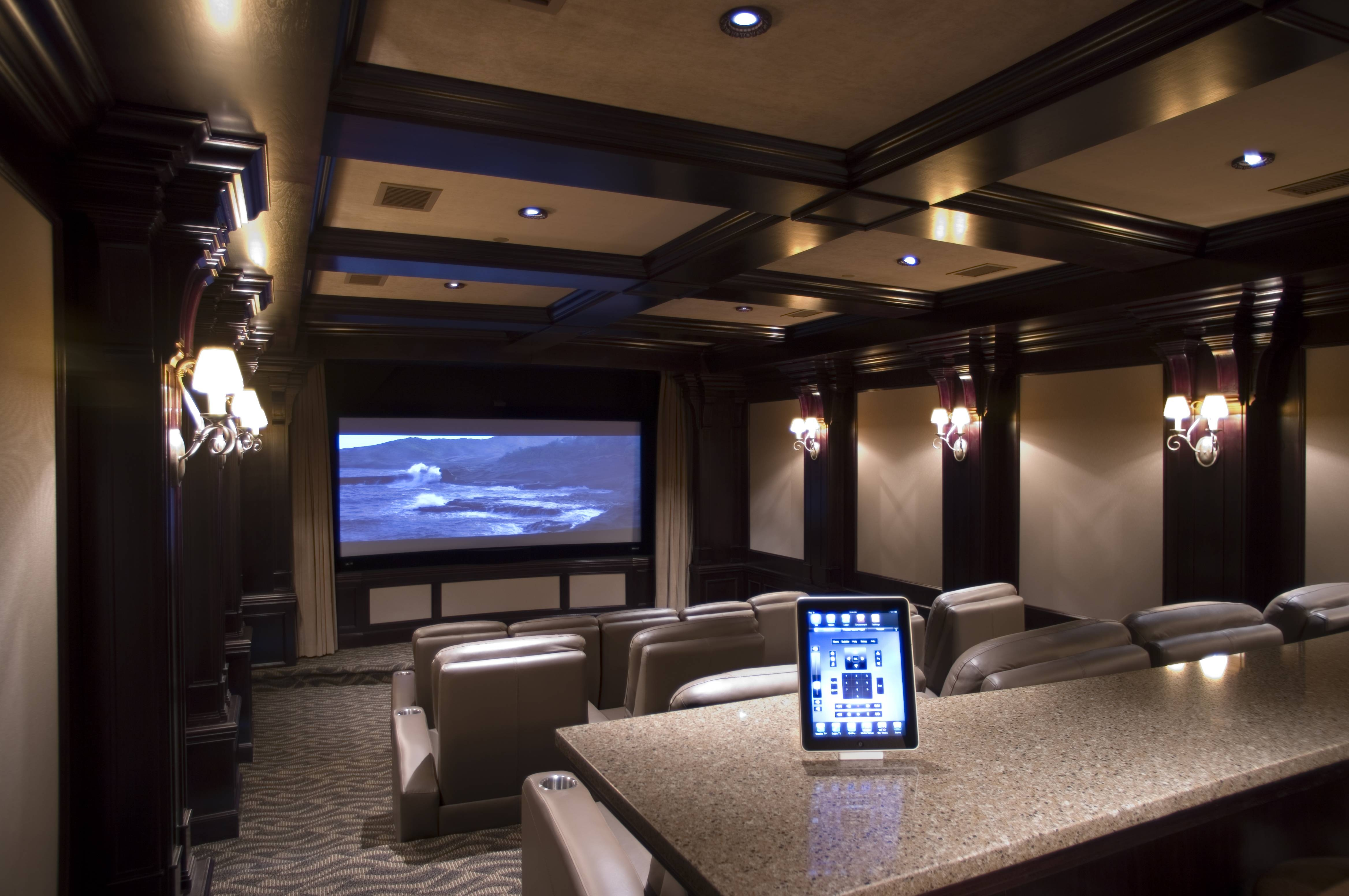 Interior : Amazing Theater Room Design With Blue Ceiling Light And throughout Theater Room Sofas (Image 16 of 30)