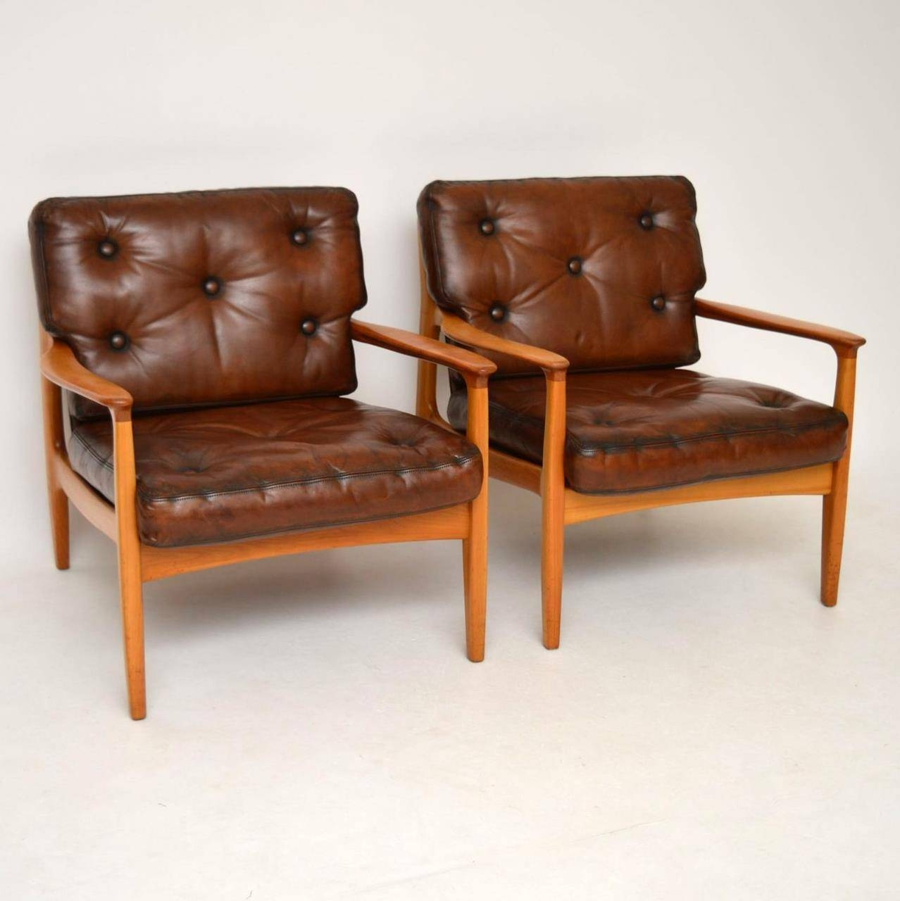 Interior Boutiques. Pair Of Danish Retro Leather Armchairs Vintage inside Vintage Leather Armchairs (Image 8 of 30)