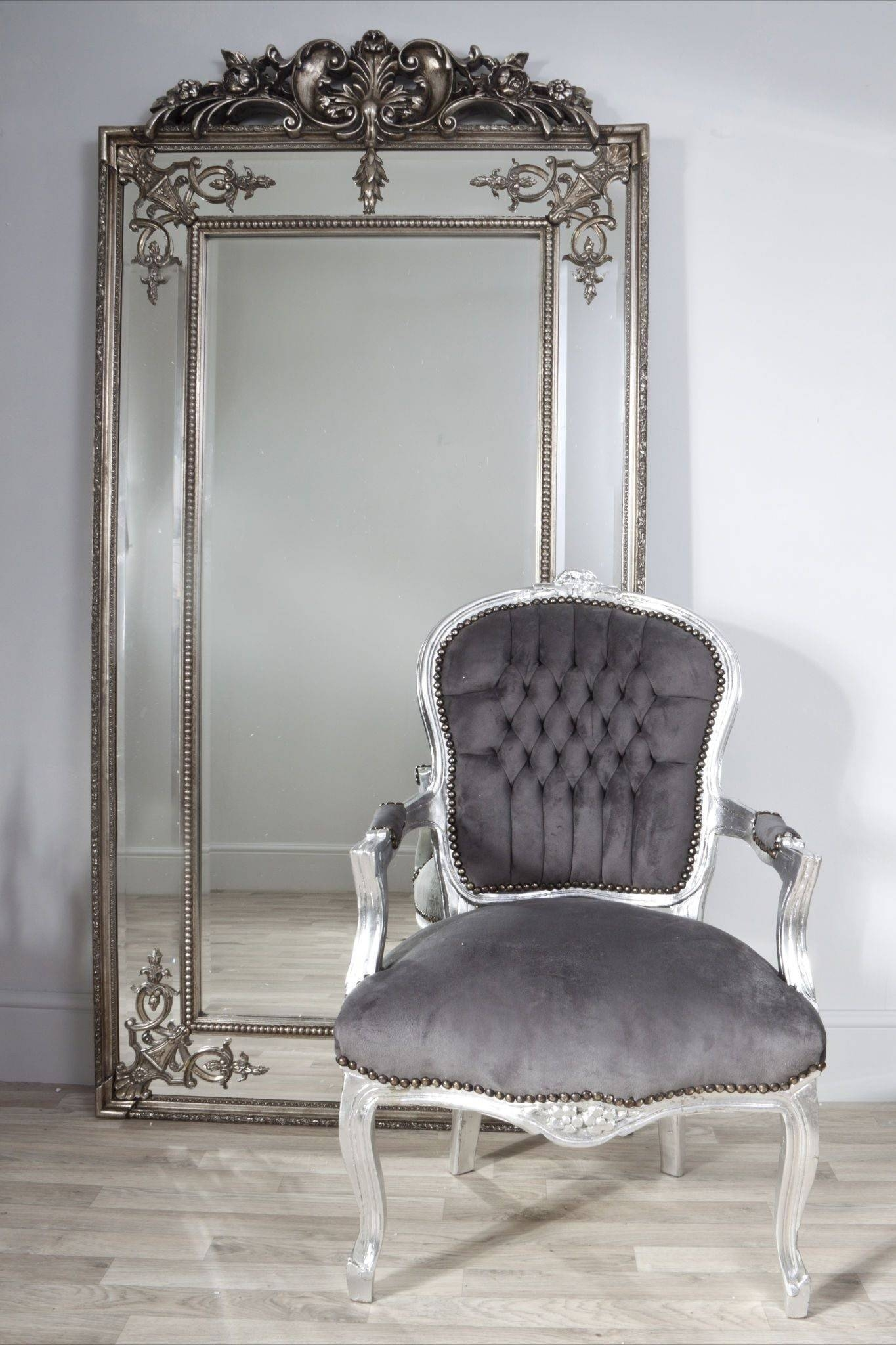 Interior & Decoration: Chrome Arm Chairs And Floor Mirror throughout Large Ornate White Mirrors (Image 13 of 25)