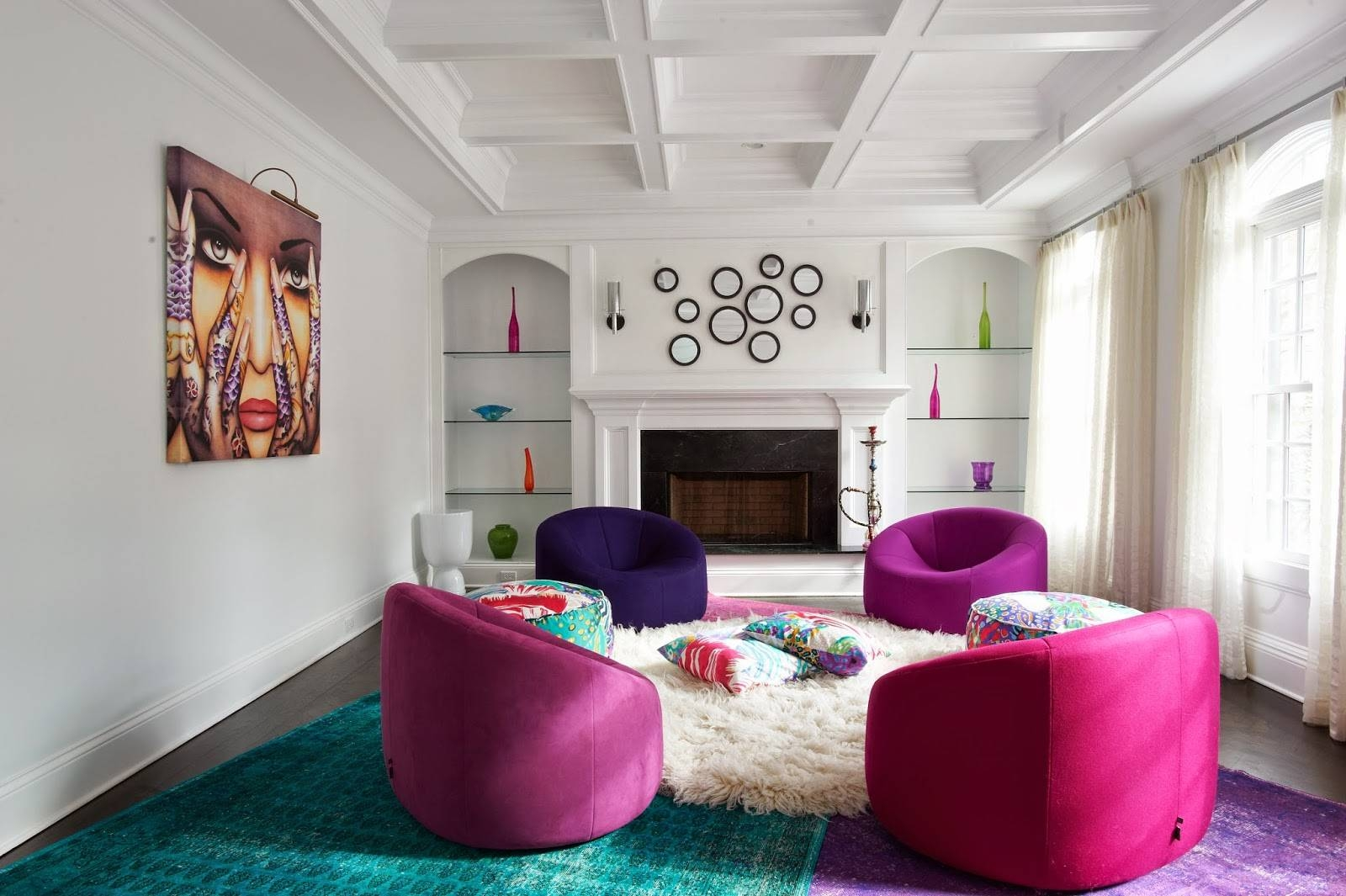 Interior Decoration : Eclectic Art Deco Living Room With Long Dark with regard to Purple Ottoman Coffee Tables (Image 14 of 30)