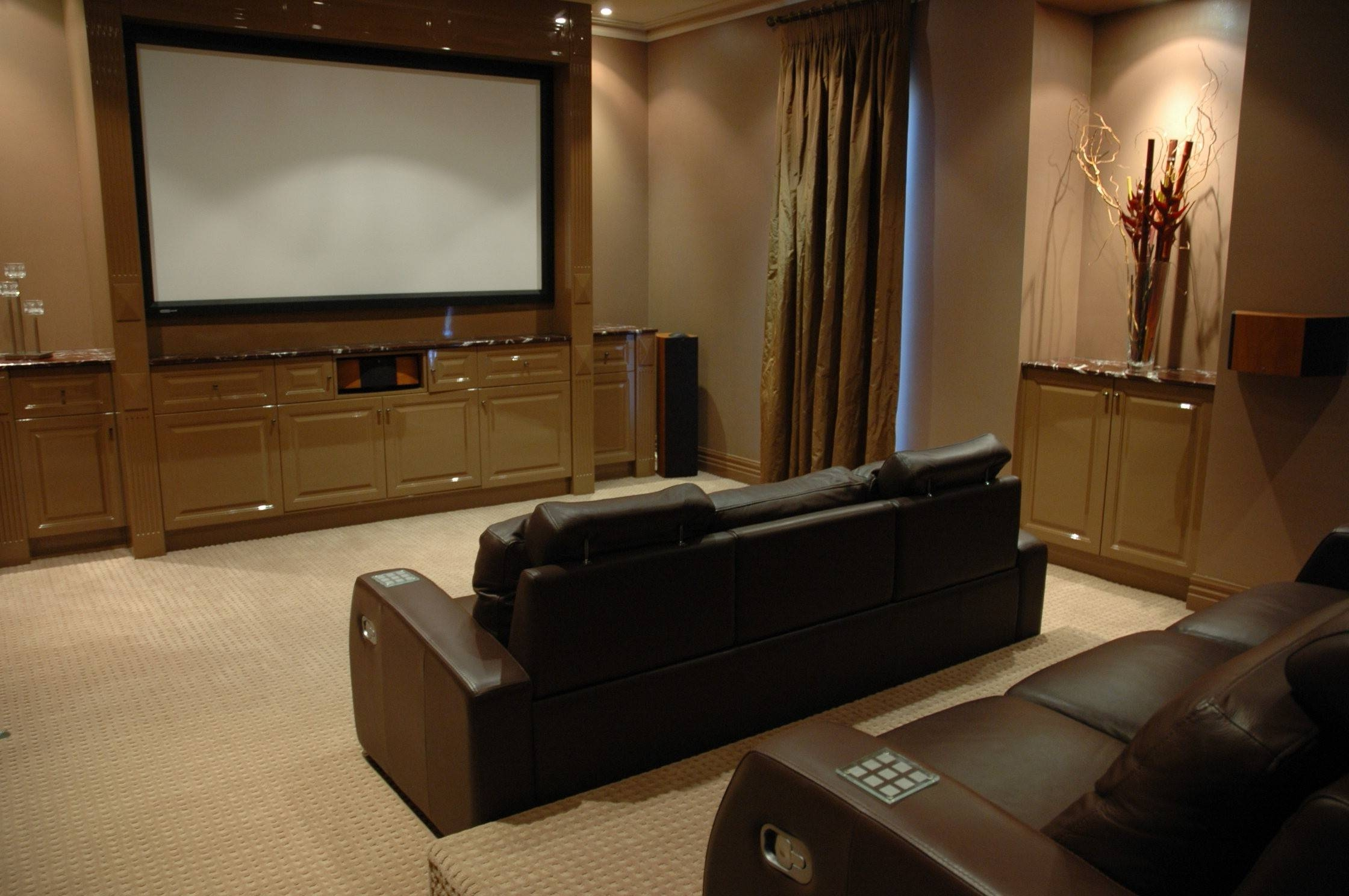 Interior : Home Theater Room Design Ideas Big Wall Tv Gray Colored Inside Theater  Room Sofas