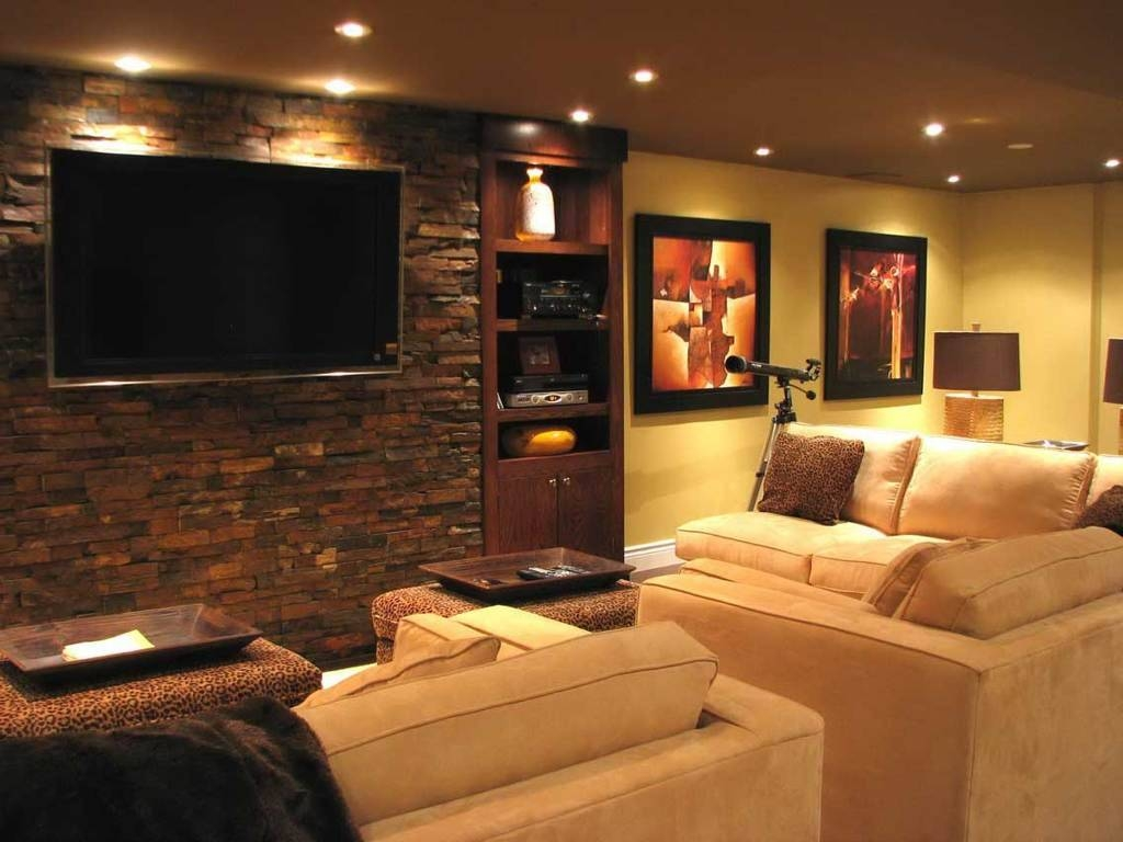 Interior : Impressive Home Theater Room Decor Feat Dark Brown with regard to Media Room Sectional Sofas (Image 10 of 25)