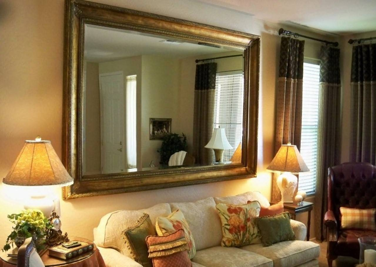 Interior: Large Framed Wall Mirror Cream Table Lamp White Leather inside Cream Wall Mirrors (Image 16 of 25)