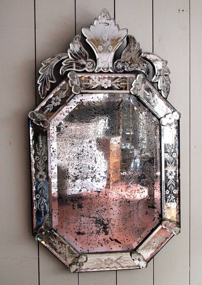 Interior: Vintage Venetian Mirror For Classic Interior Decor pertaining to Antique Venetian Glass Mirrors (Image 21 of 25)