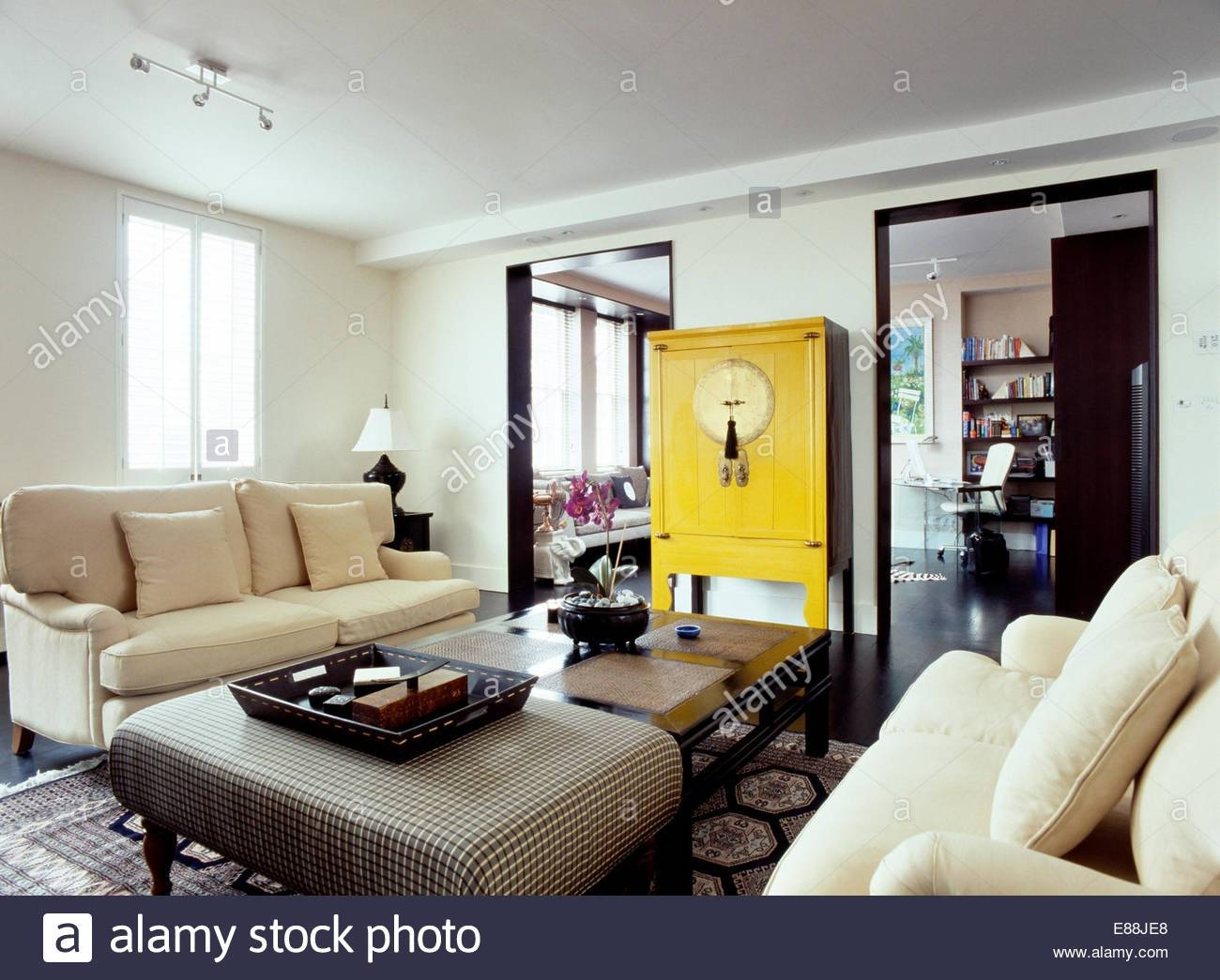 Interiors Sittingroom Sofa Yellow Stock Photos & Interiors pertaining to Yellow Chintz Sofas (Image 23 of 30)