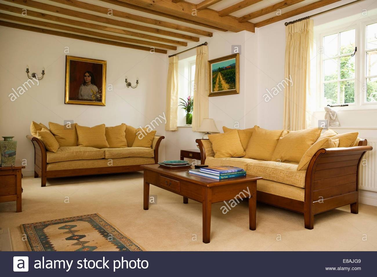 Interiors Yellow Sittingroom Sofa Stock Photos & Interiors Yellow with regard to Yellow Chintz Sofas (Image 25 of 30)