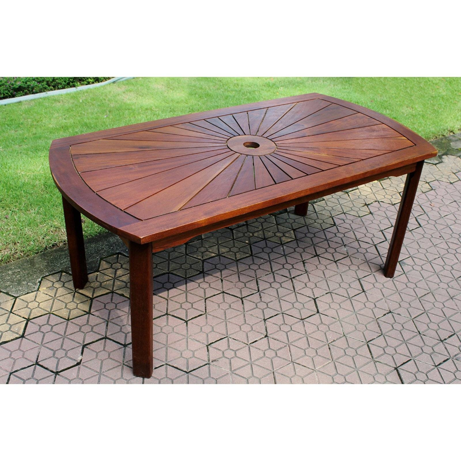 International Caravan Highland Acacia Sunburst Patio Garden Coffee pertaining to Wooden Garden Coffee Tables (Image 16 of 30)