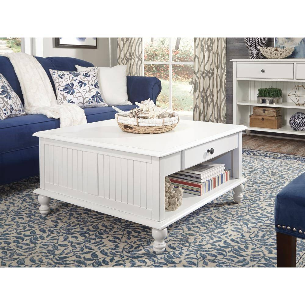 International Concepts Cottage Beach White Square Coffee Table with regard to White Square Coffee Table (Image 21 of 30)