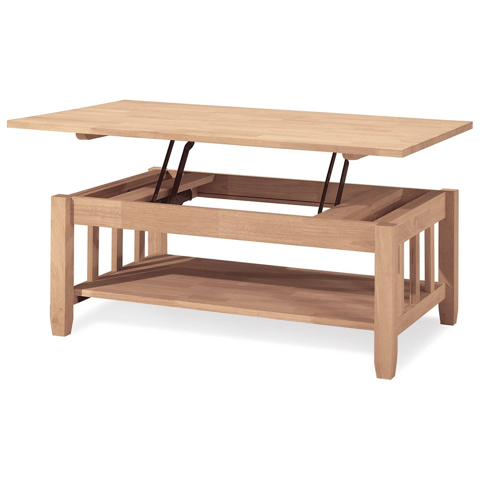 International Concepts Mission Solid Wood Lift Top Coffee Table in Raisable Coffee Tables (Image 20 of 30)