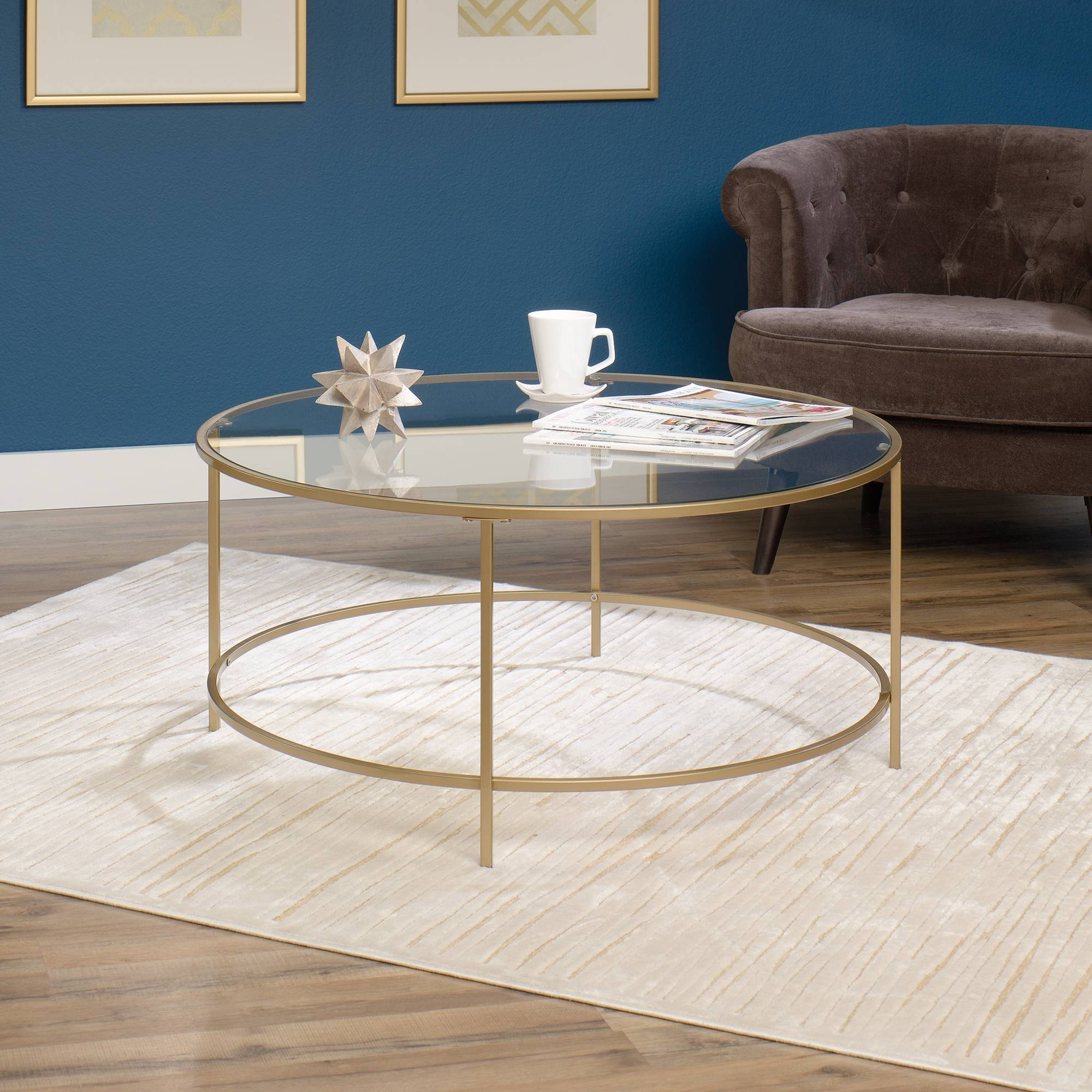 International Lux | Round Coffee Table | 417830 | Sauder Inside Glass Gold Coffee Tables (Photo 25 of 30)