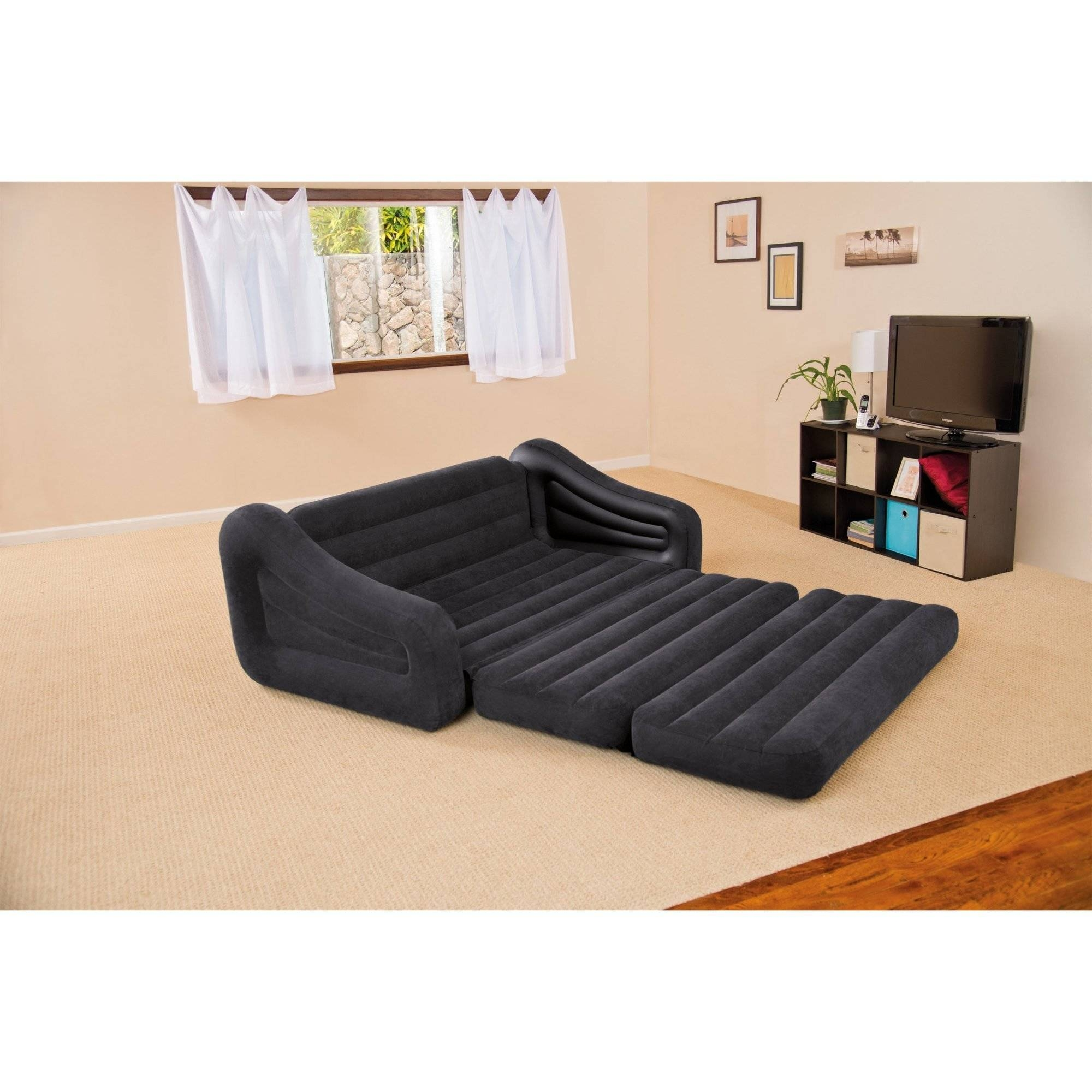Intex Queen Inflatable Pull Out Sofa Bed - Walmart throughout Pull Out Queen Size Bed Sofas (Image 12 of 30)