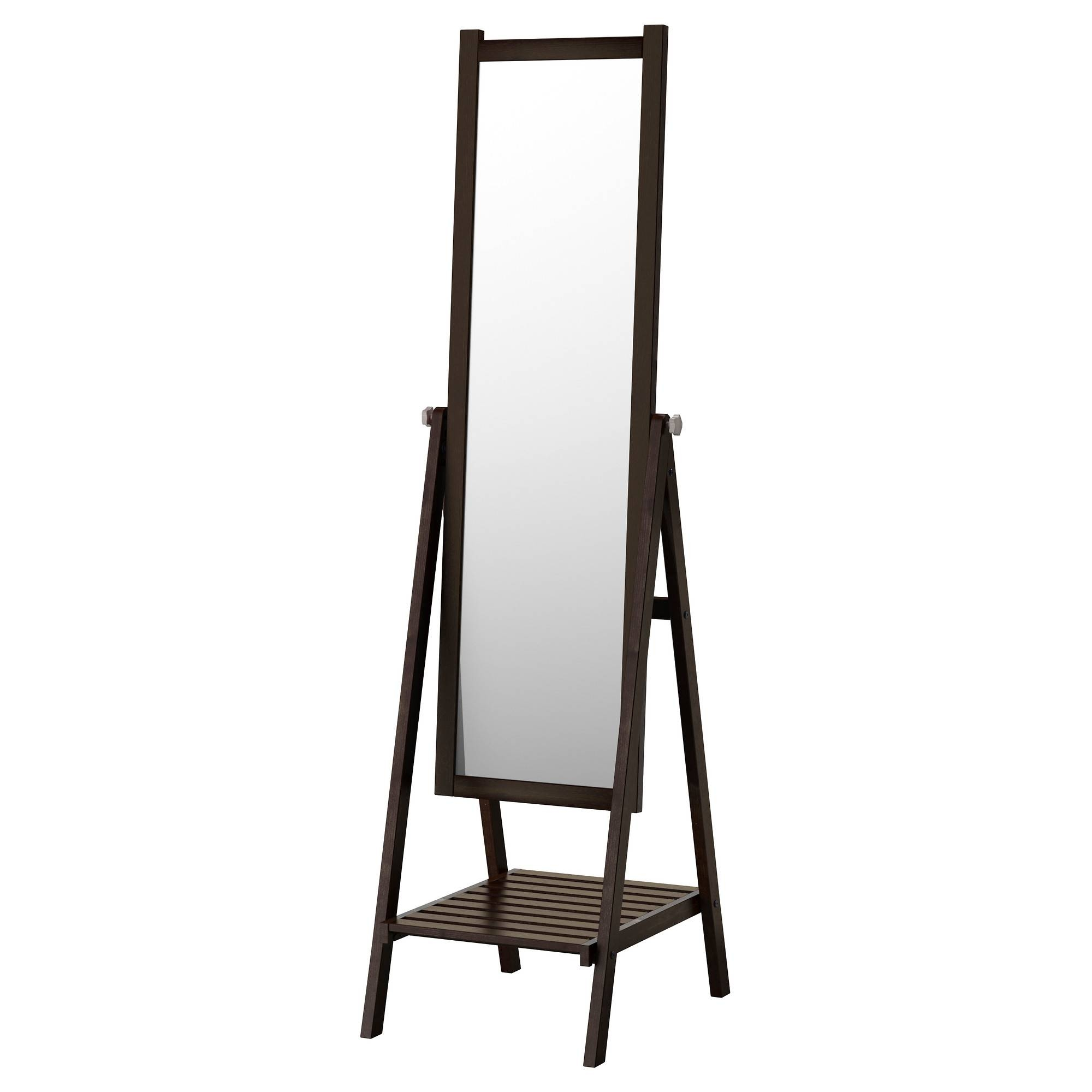 Isfjorden Standing Mirror Black-Brown Stain 47X182 Cm - Ikea inside Long Brown Mirrors (Image 17 of 25)