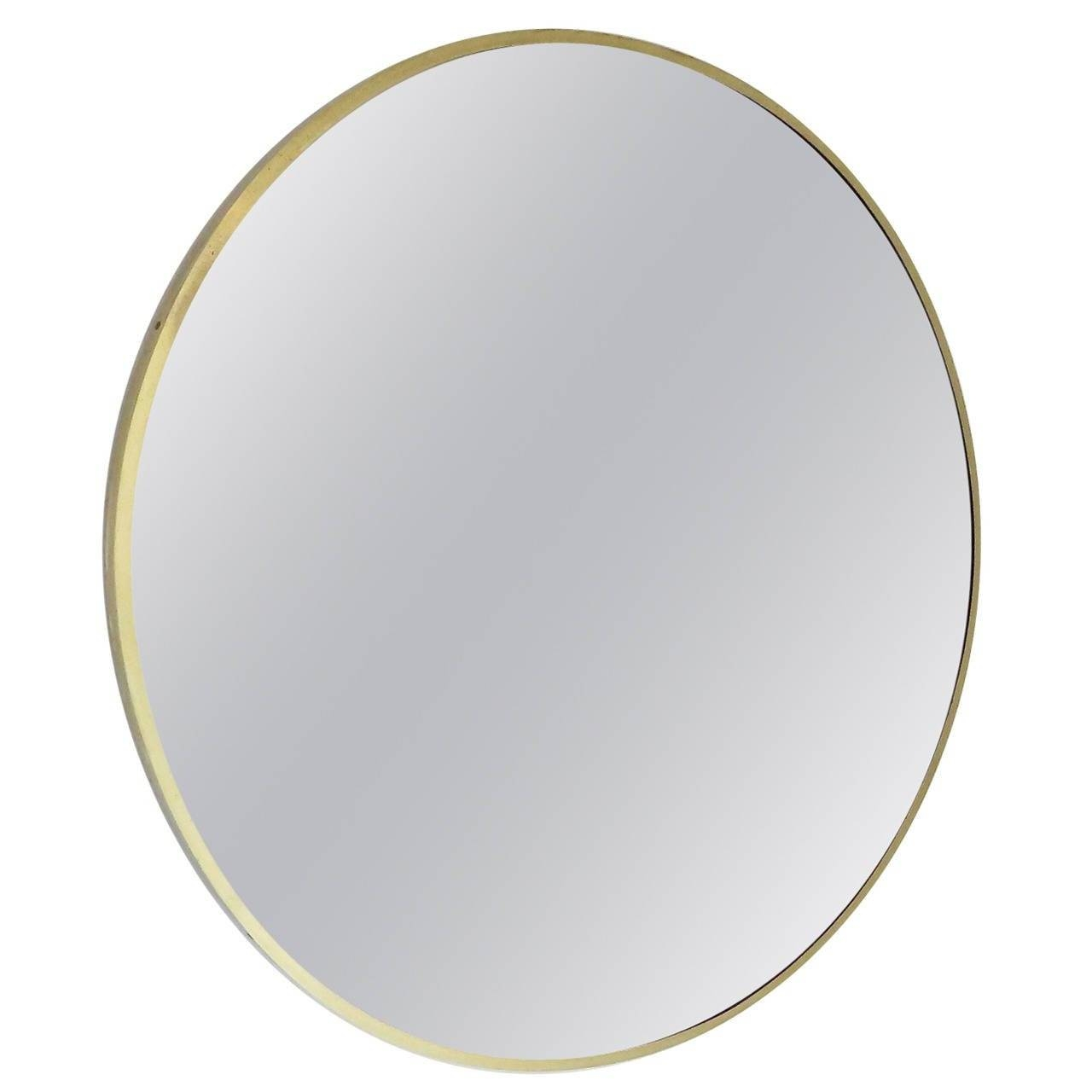 Italian Brass Beveled Round Mirror With Bronze Tone Glass At 1Stdibs intended for Round Bevelled Mirrors (Image 9 of 25)