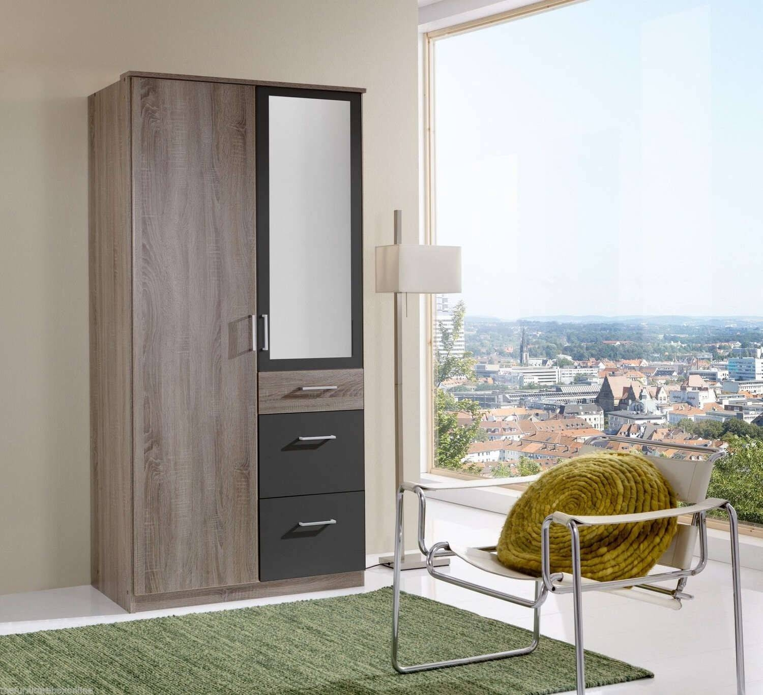 Italian Double 2 Door 3 Drawer Mirror Wardrobe | Furniturebox in 1 Door Mirrored Wardrobes (Image 3 of 15)