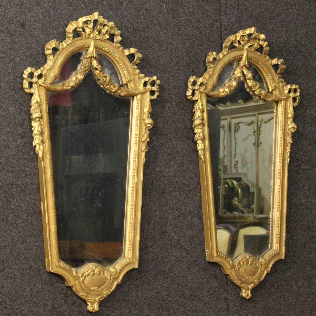 Italian Gilt Mirrors, Set Of 2 For Sale At Pamono inside Gilt Mirrors (Image 8 of 25)