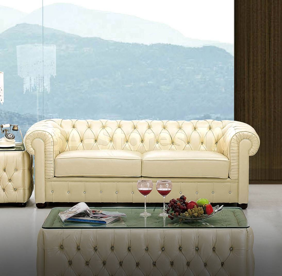 Italian Leather Sofa With Rhinestones | Sofas Esf 258 Sf/2 With Regard To Ivory Leather Sofas (View 16 of 30)