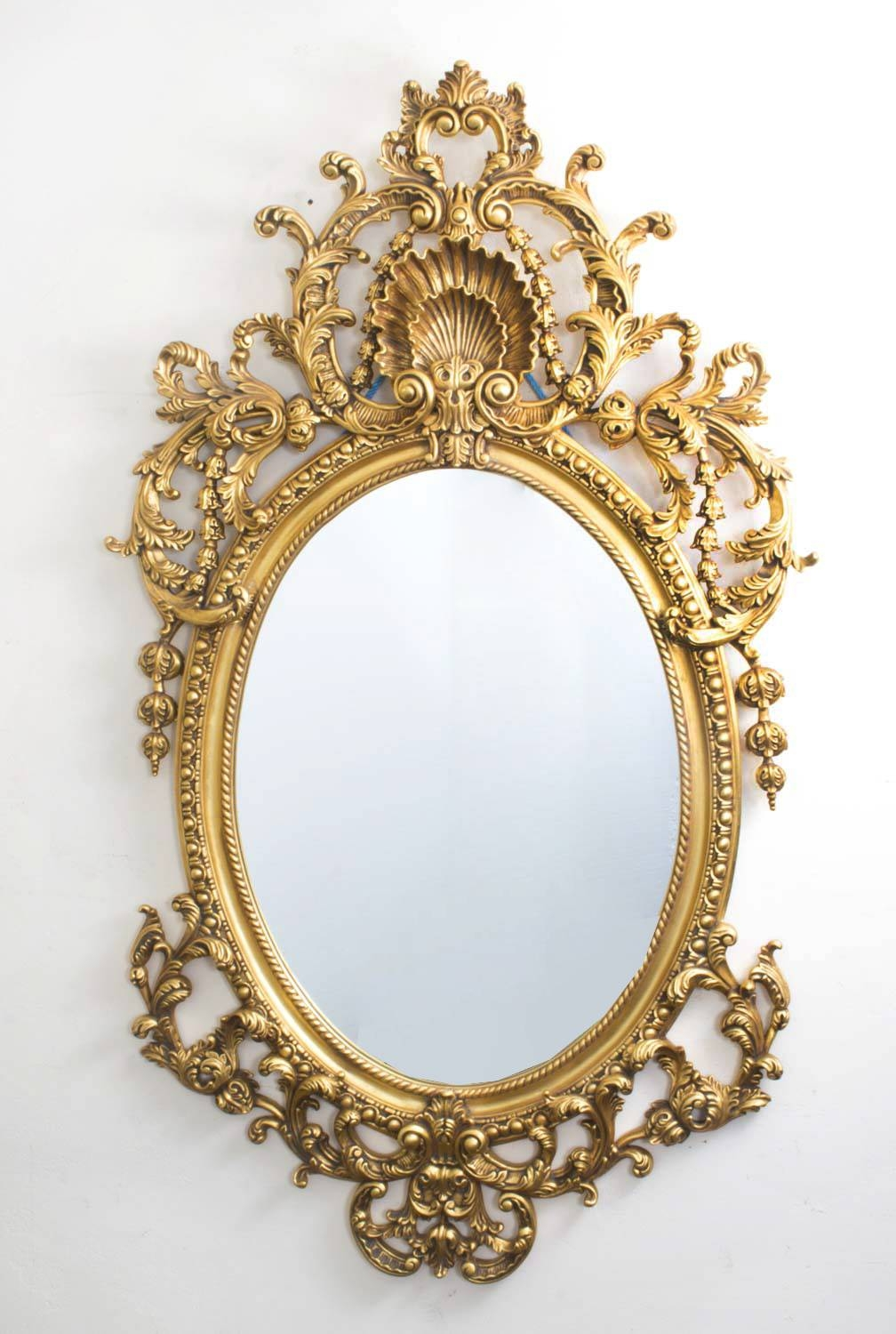Italian Rococo Gilded Oval Mirror Giltwood 142 X 80 Cm within Rococo Mirrors (Image 16 of 25)