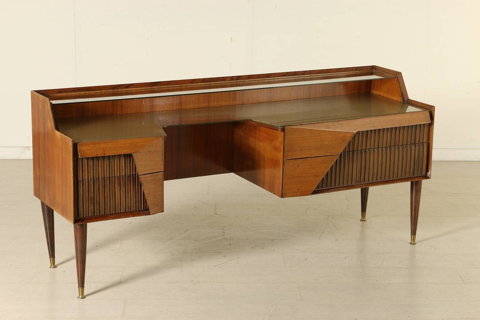 Italian Rosewood Sideboard With Drawers And Glass Top, 1950S For throughout Glass Top Sideboards (Image 5 of 30)