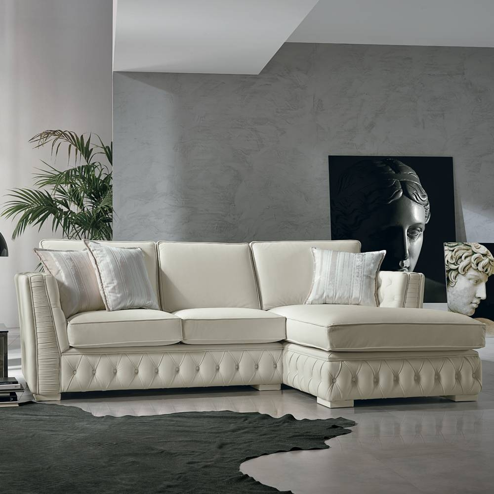 Italian White Leather Corner Sofa, Classi Design, Teseo inside White Leather Corner Sofa (Image 10 of 30)