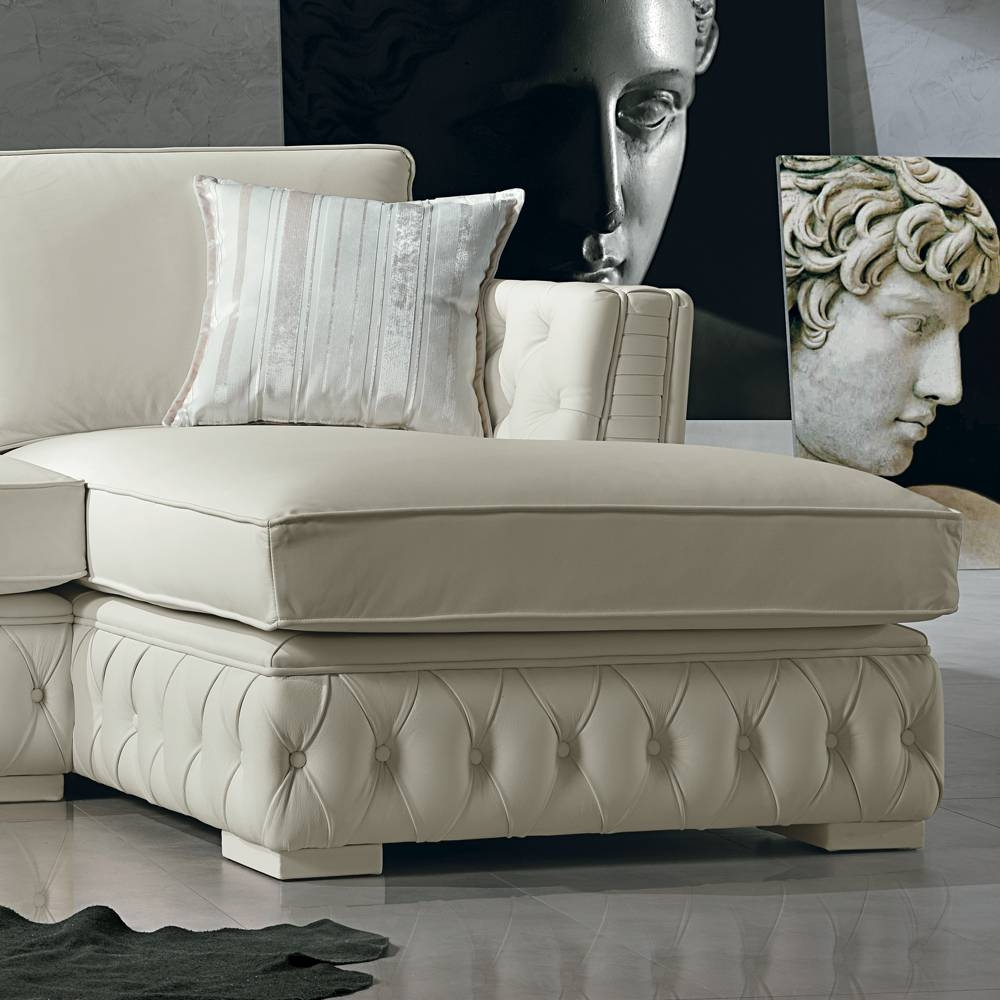 Italian White Leather Corner Sofa, Classi Design, Teseo with White Leather Corner Sofa (Image 11 of 30)