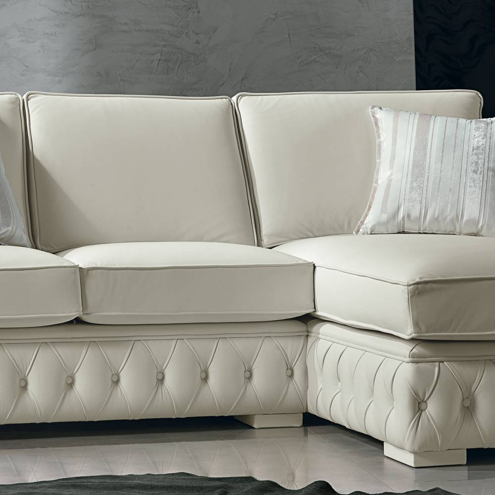 Italian White Leather Corner Sofa, Classi Design, Teseo within White Leather Corner Sofa (Image 12 of 30)