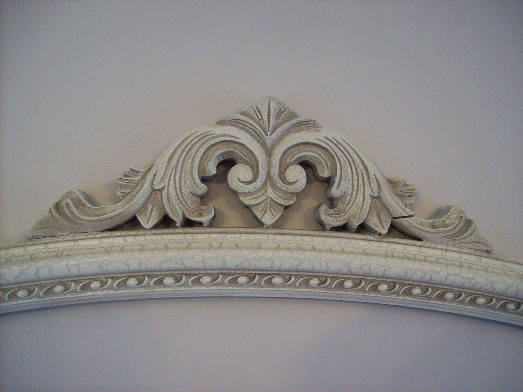 Ivory Crackled Ornate Overmantle Mirror in Ivory Ornate Mirrors (Image 8 of 25)