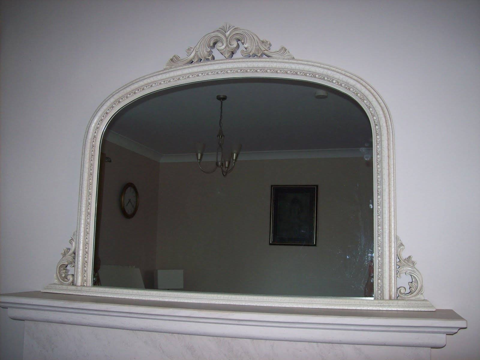 Ivory Crackled Ornate Overmantle Mirror with Ivory Ornate Mirrors (Image 9 of 25)